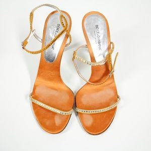 Dolce & Gabbana Embellished Orange Strappy Heels
